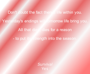 Don't doubt the fact there's life within you.